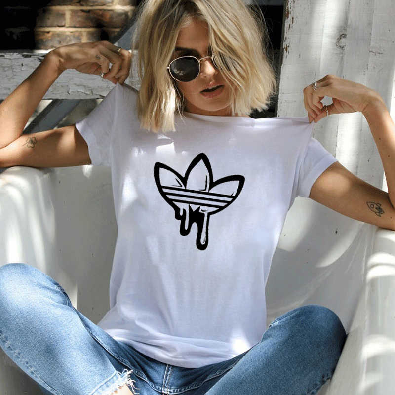 FIXSYS Zomer vrouwen Printing T Shirt Casual Ronde Hals Tops Tee Zwart Wit Korte Mouw T-shirt Vrouw Tee shirts Lady T-shirt