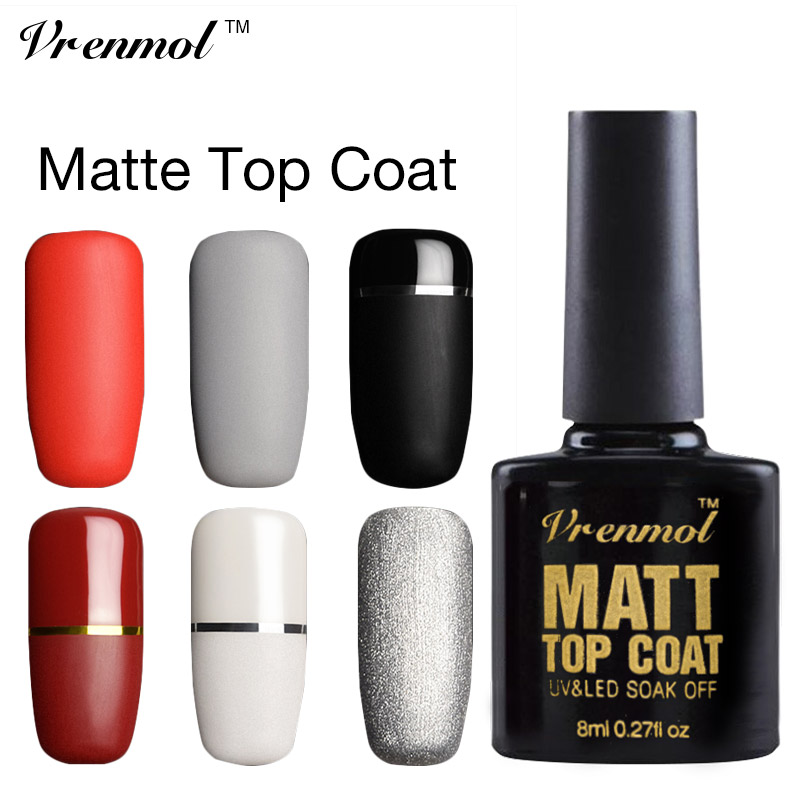 vrenmol 1pcs matt matte top coat gel nail polish semi permanent uv nail gel varnish soak off. Black Bedroom Furniture Sets. Home Design Ideas