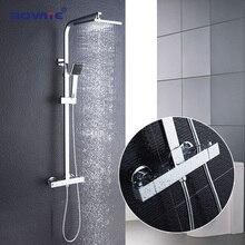 ROVATE Ванная комната термостатический комплект, постоянный Контроль температуры ванной смеситель для душа Системы, латунь хром