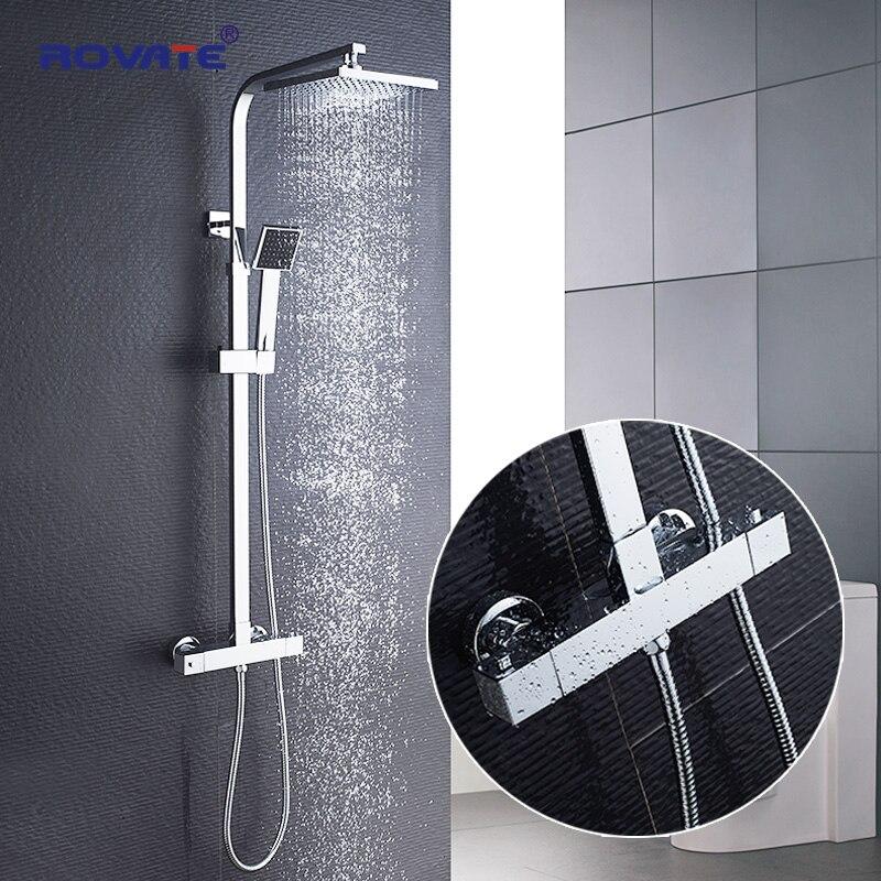 ROVATE Salle De Bains douche thermostatique Ensemble, Constant contrôle de la température robinet de bain système de douche, Laiton Chrome