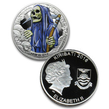 Free Shipping 10pcs/lot,2016 Horror Coins - Kiribati Grim Reaper Silver Coin