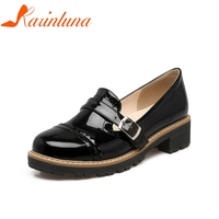 KARINLUNA 2018 Large Size 32 43 Buckle Strap Chunky Heels Women Shoes Woman Office Lady Pumps Black Red Apricot Shoes