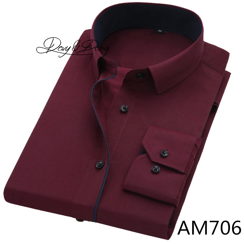 DAVYDAISY High Quality Men Shirt Long Sleeve Twill Solid Formal Business Shirt Brand Man Dress Shirts DS085 17