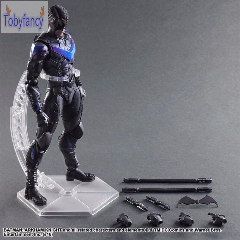 Play Arts Kai Batman Nightwing PVC Toys 270mm Anime Collectible Model Toy Action Figure Arkham Knight Playarts Kai Tobyfancy playarts kai batman arkham knight batman blue limited ver superhero pvc action figure collectible model boy s favorite toy 28cm