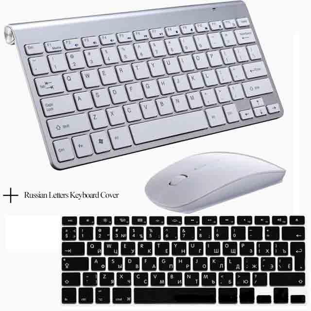 Портативный Mute ключи Клавиатуры 2.4 г Сверхтонкий Беспроводной клавиатура и Мыши набор для MAC Win XP 7 10 Vista Android ТВ коробка - Цвет: Slive Keyboard Cover