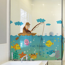 ФОТО stained glass window film frosted opaque privacy glass films home decor window decoration blt697 small fishing notes