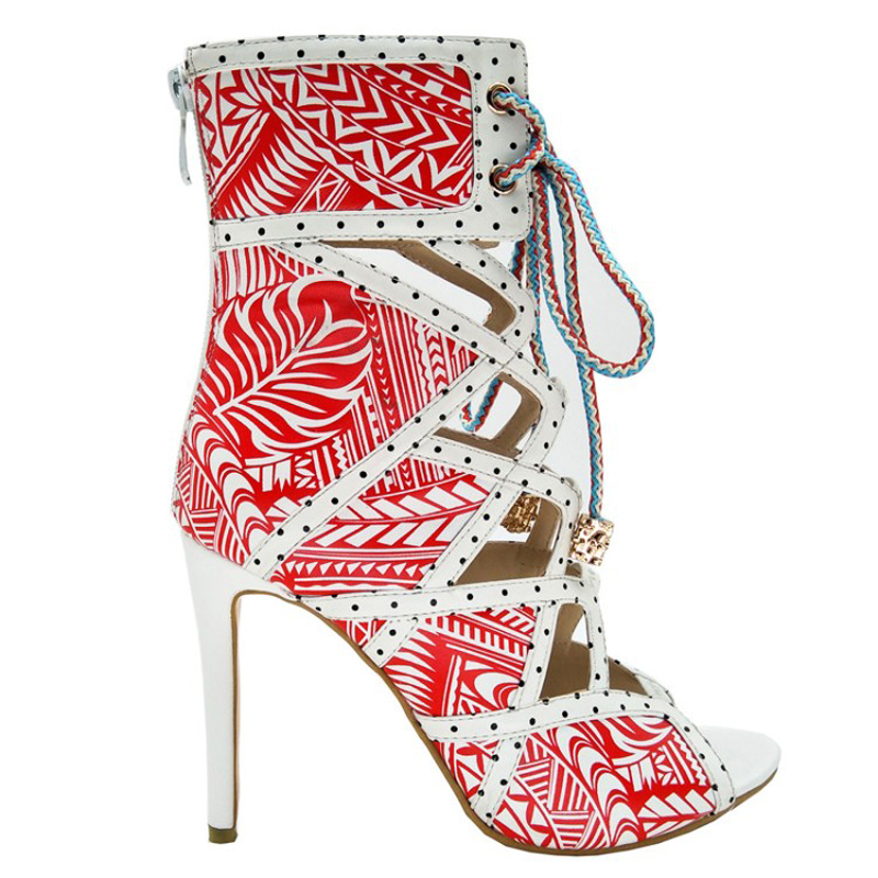 Themost Sexy Women Africa Printed Cut Out Sandal Boots Open Toe High Heel Gladiator Shoes for Summer