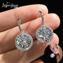 Luxury Fashion Round Wedding Women Hoop Earrings with Silver Color Cubic Zirconia Cz Stone Crystal Party Earings Jewelry Brincos be 8 luxury crystal aaa cubic zirconia hoop earrings for women jewelry fashion wedding brincos party hoop earring wholesale e607