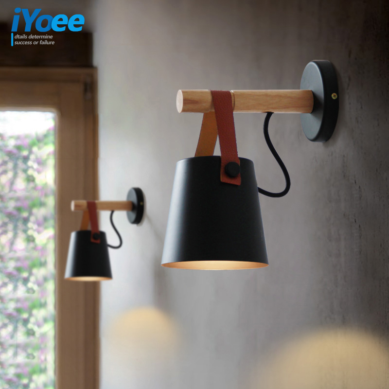 Iyoee Iron Wall Sconce Metal Leather Belt Wood Wall Lamp