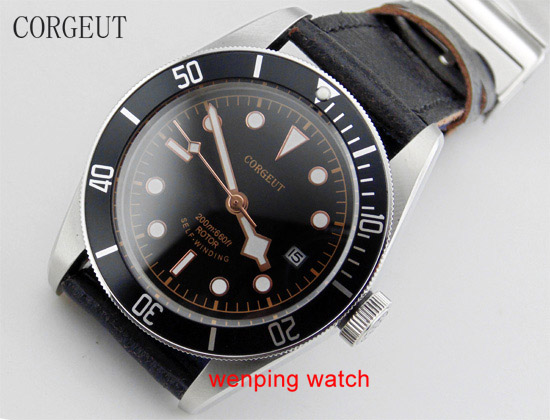 Corgeut 41mm Black Bezel Rose gold side watch needle Sapphire Crystal Automatic Movement Solid bottom Mens