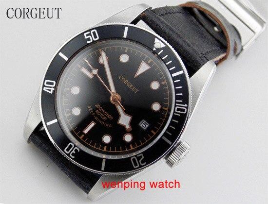 Corgeut 41mm Black Bezel Rose goud kant horloge naald Sapphire Crystal Automatische Beweging Stevige bodem Herenhorloge 1541-in Mechanische Horloges van Horloges op  Groep 1
