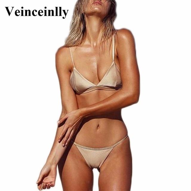 Sexy Nude Brazilian String Mini Bikini Set 2018 Two Pieces Swimsuit Female Swimwear Women Bathing Suit