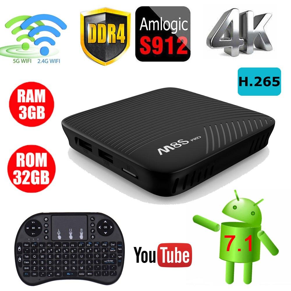 3GB DDR4 32GB EMMC M8S PRO Android 7.1 TV Box BT 4.1  Amlogic S912 Octa Core 4K Full HD 3D 2.4G/5G Dual WiFi Smart Set-top Box