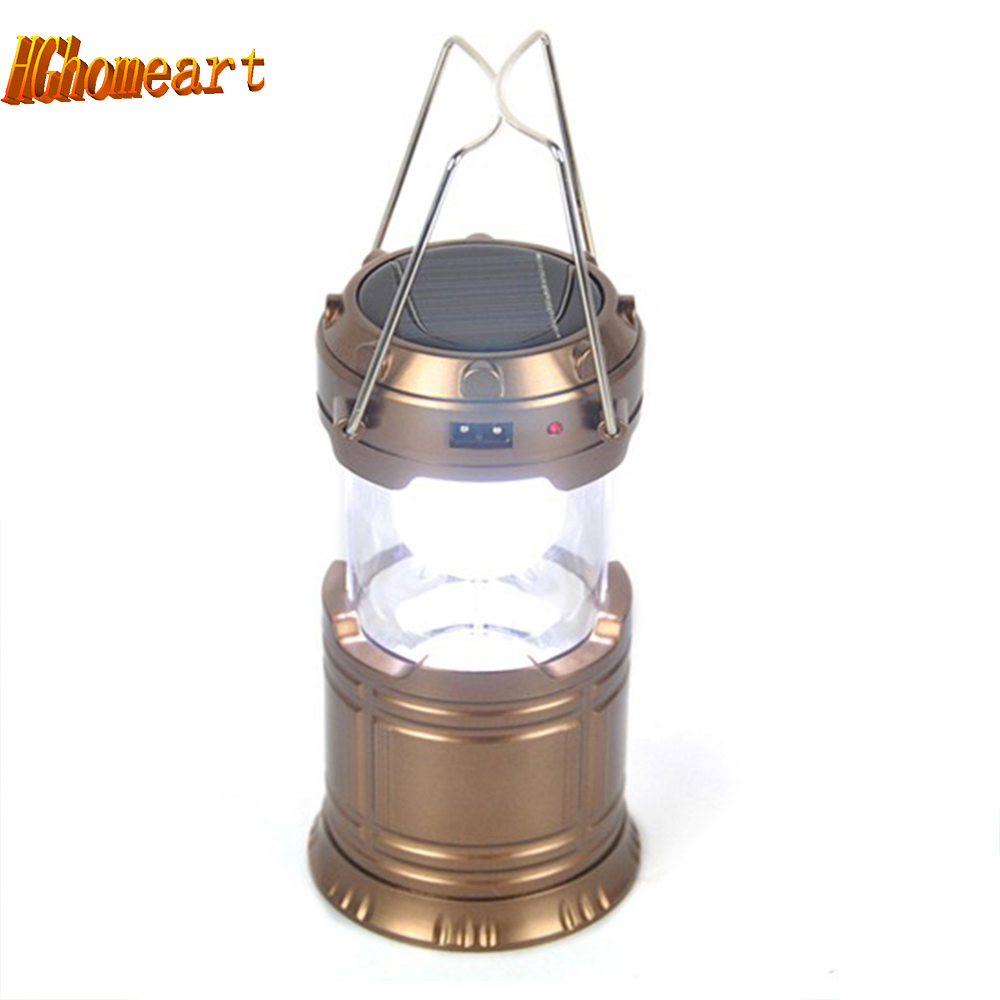 Solar Led Outdoor Lighting Waterproof Portable Lantern 6LED USB Rechargable Led Camping Lantern Tent Fishing Hunting Lights Lamp