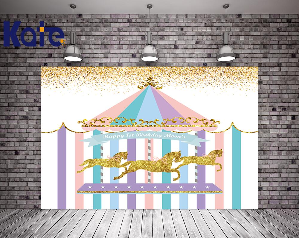 Kate 5X7FT Newborn Birthday Photography Backdrops Colorful House Golden Horse Photography Backdrops Birthday Party Background kate 5x7ft photography background spring