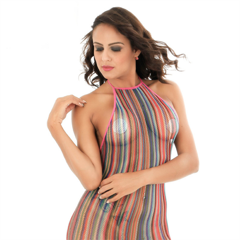 Rainbow Sexy Dress Bodystocking Fashion Halter Mesh Backless Babydoll Colorful Underwear Erotic Lingerie Hot Fishnet Clothes