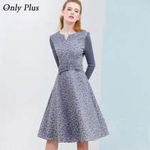 ONLY PLUS Winter High Quality Suede Dress Women Knitting Long Sleeve Stitch Fashion Sweet Female A-Line Dresses S-XXL