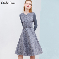 ONLY PLUS Winter High Quality Suede Dress Women Knitting Long Sleeve Stitch Fashion Sweet Female A Line Dresses S XXL