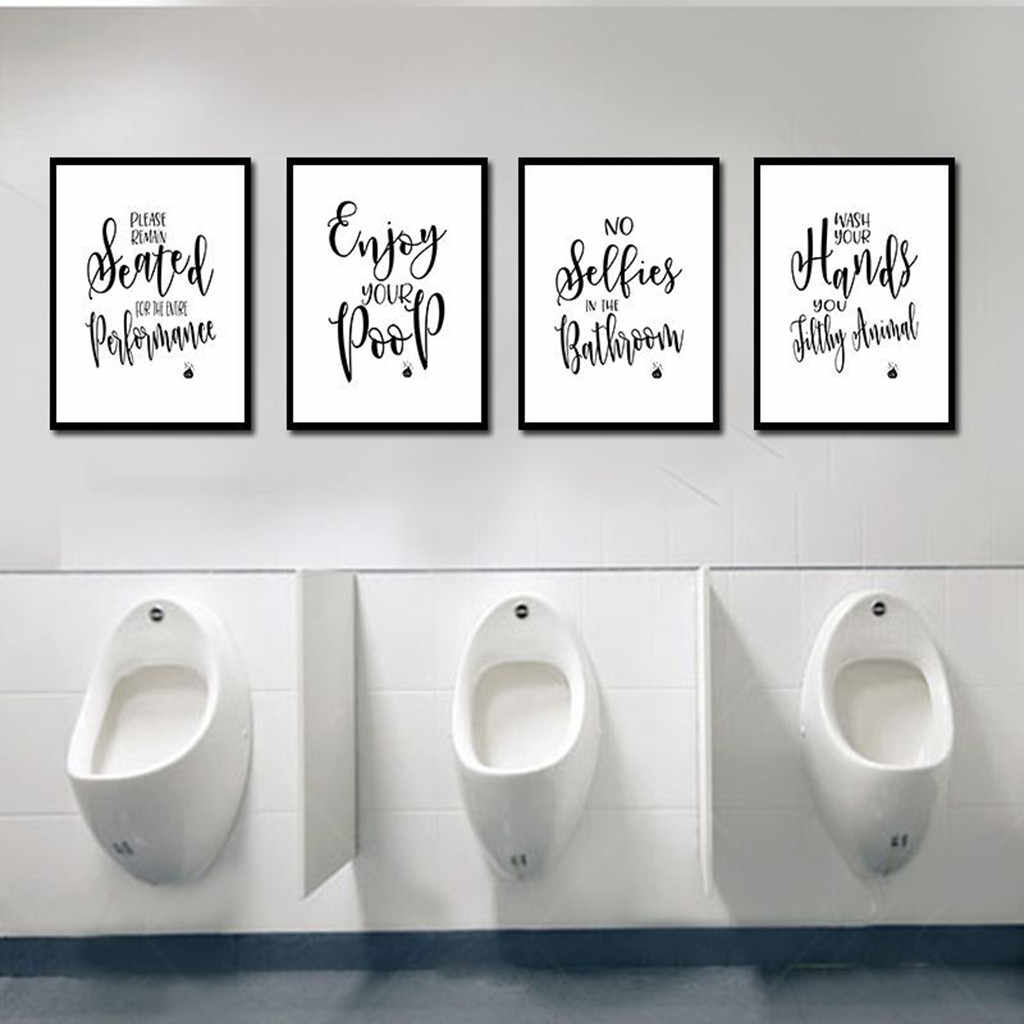 Ishowtienda 4pcs Bathroom Quotes Posters Sayings Art Prints Unframed Gift For Decor 8x12inch Pittura Domestica Dropshipping 30 Painting Calligraphy Aliexpress