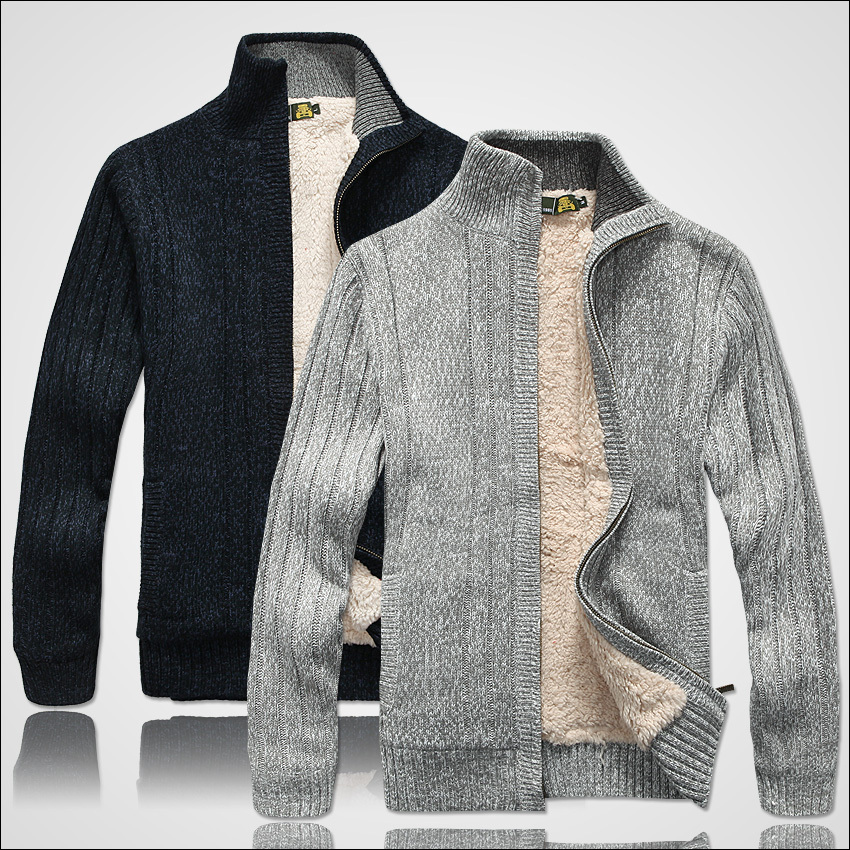 Men Sweaters Long Sleeve Sweatercoat Casual Cardigan Thick Knitting Sweater Outerwear Coat Winter For Mans