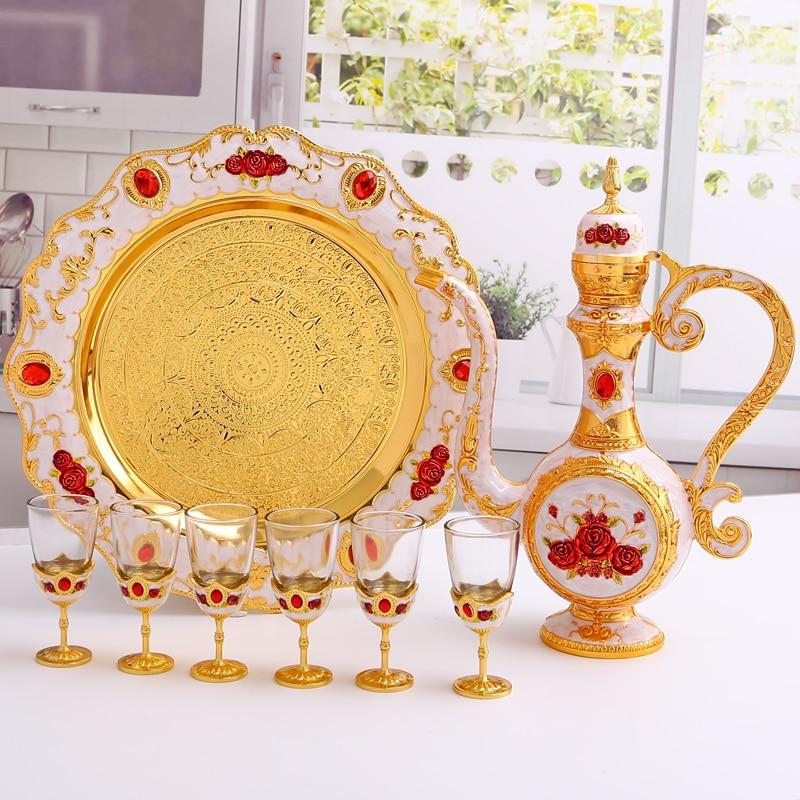 Luxuriöse 304 edelstahl liner Wein set wein glas sets für hochzeit dekorative flachmann + lagerung tablett + wein glas JJ078