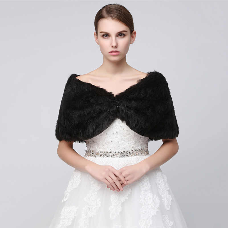 Cheap In Stock wedding bolero white faux fur winter women fur jacket bridal wraps and shawls for evening wedding dresses 17010