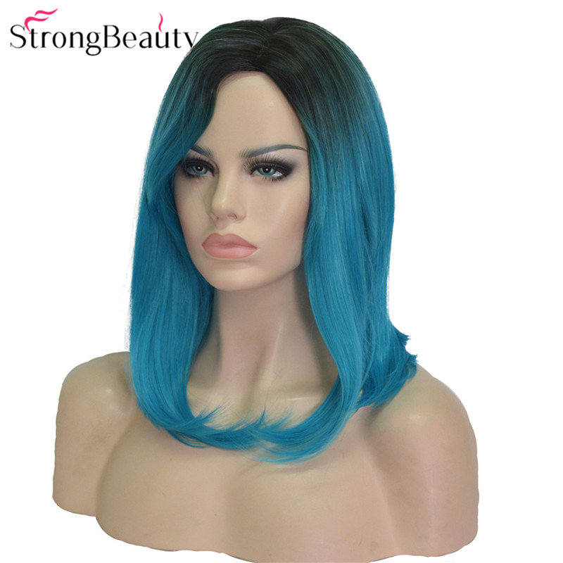 Strong Beauty Straight Women's Wig Ombre Light Blue Bob Medium Long Hairstyle Synthetic Wigs