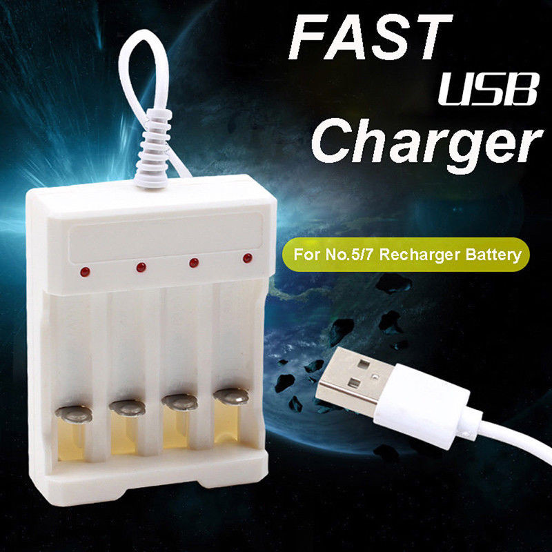 Universal Rechargeable Battery Quick Charge Adapter USB 4 Slots Output