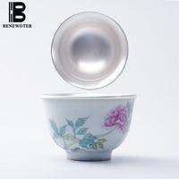 80ml Handmade Ceramic Porcelian Flowers and Birds Painted Silver Teacup Kung Fu Tea Set for Sake Wine Tea Coffee Cup Drinkware