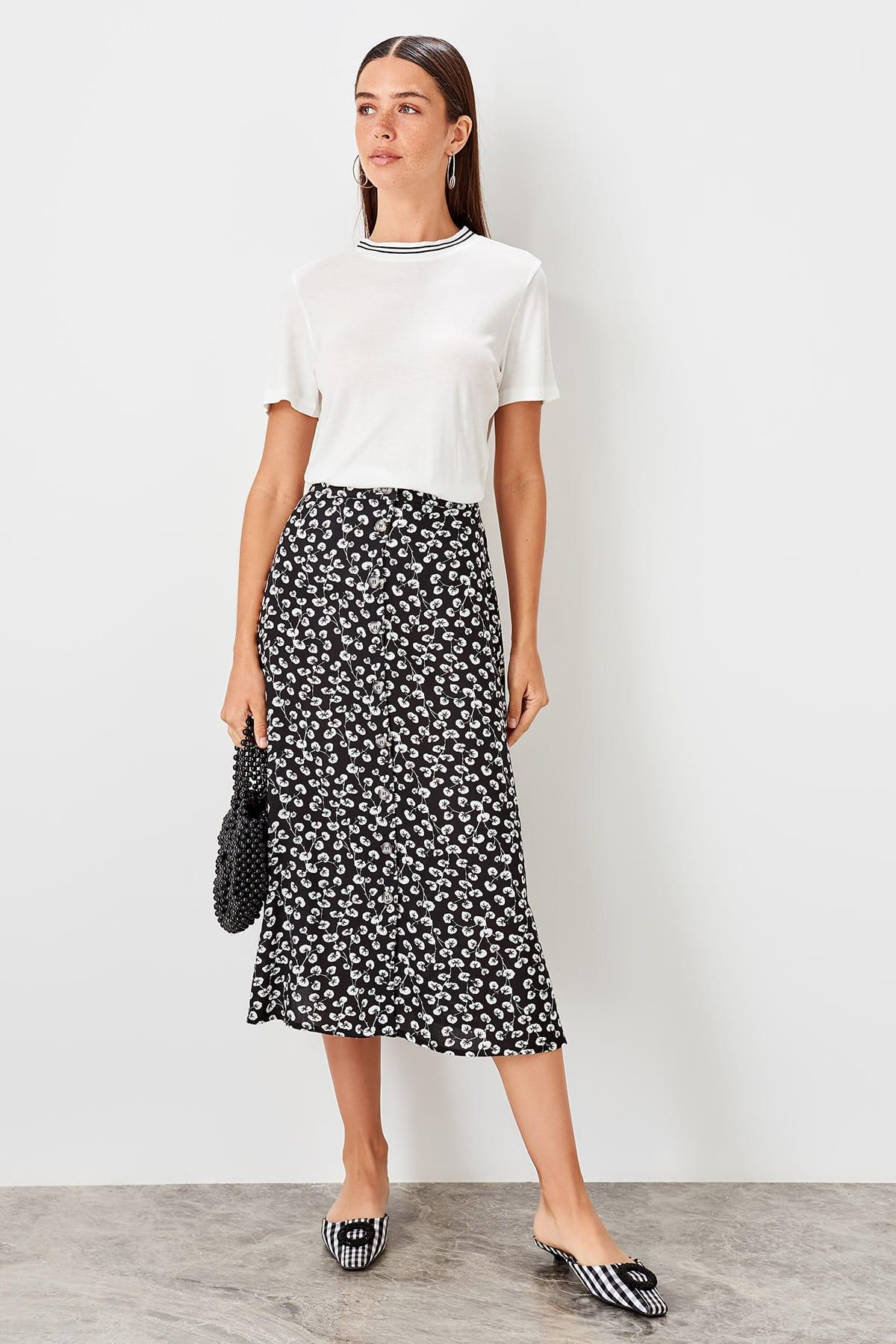 Trendyol Black Patterned Skirt TWOAW20ET0020