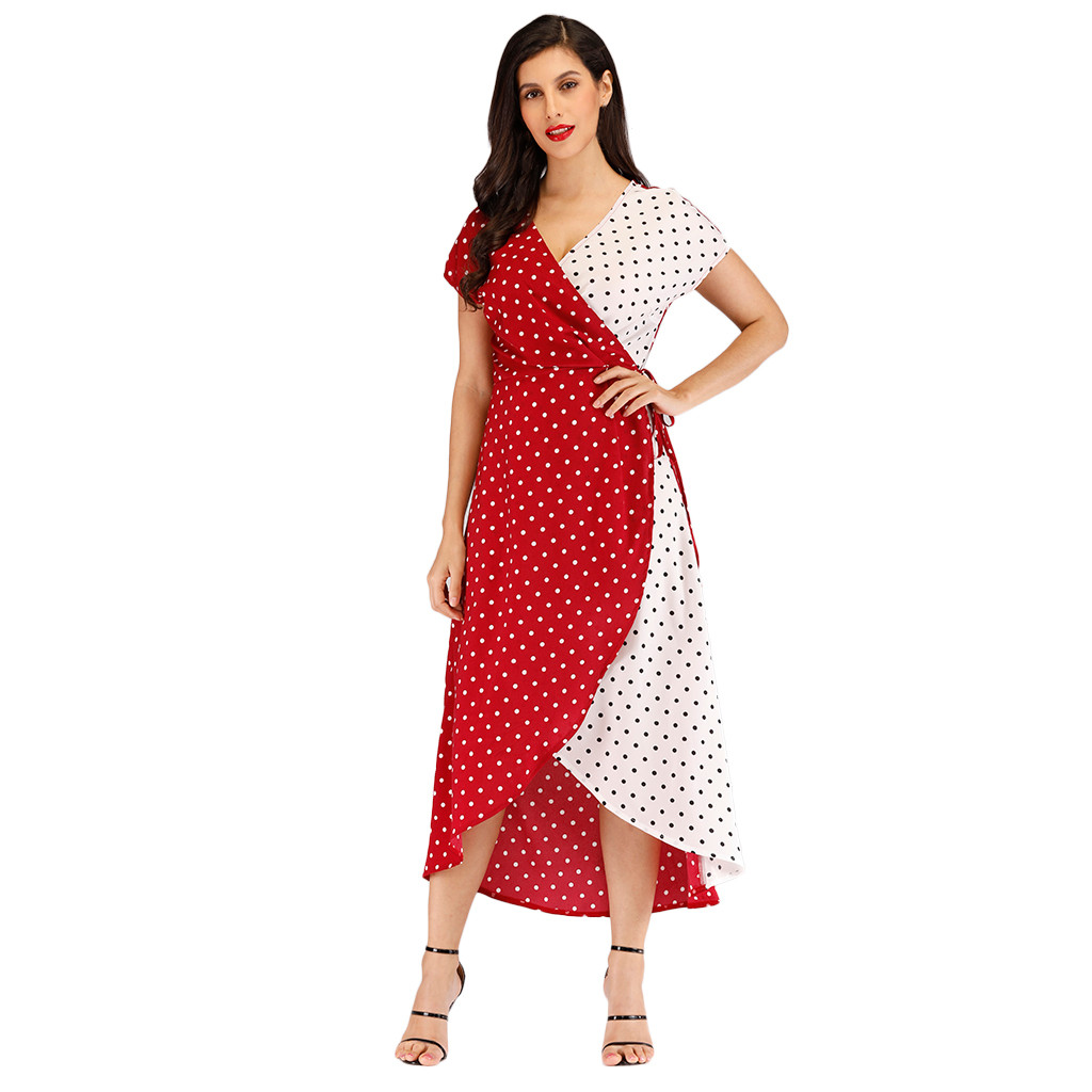 Women's Clothing Considerate 2019 Summer Women Dress Chiffon Polka Dot Cardigan V-neck Short Sleeve Asymmetrical Ankle-length Long Dress Plus Size L417