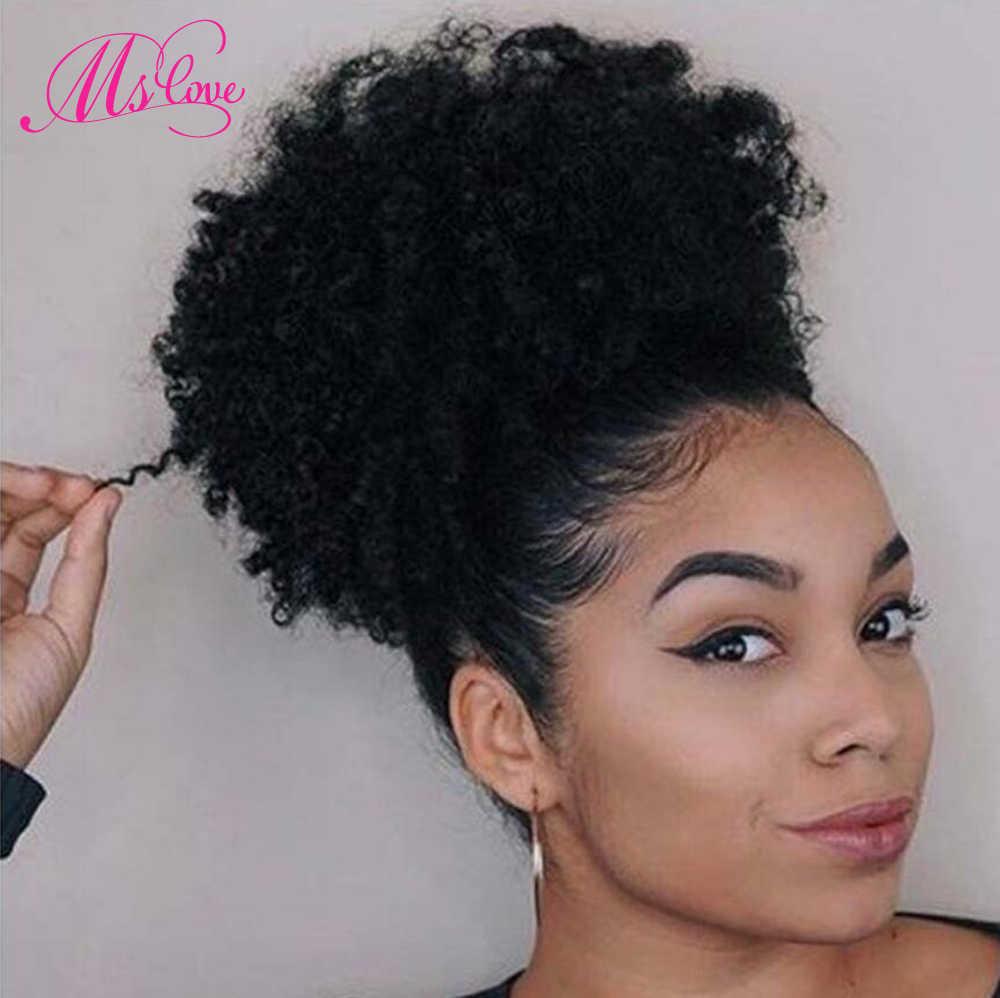 Afro Bladerdeeg Kinky Krullend Paardenstaart 100% Menselijk Haar Trekkoord Paardenstaart Met Clps in Voor Vrouwen Braziliaanse Niet Remy Haar MS liefde