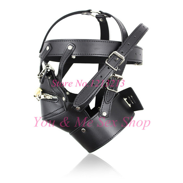 Adult Games Zipper Mouth Latex Faux Leather Sex Mask Sexy Fetish Bondage Mask Hood with Lock Sex Toys for Couples Erotic Toys