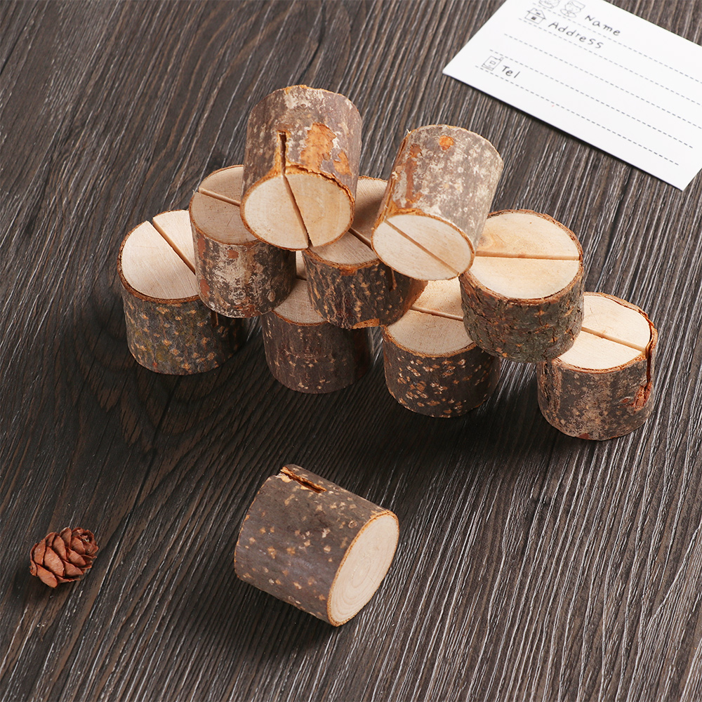 2/5/10Pcs Natural Wooden Card Holders Creative Photo Clip Wedding Ornaments Figurines School Office Memo Pad Cards Storage Stand