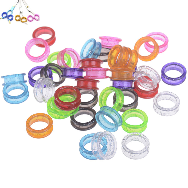 5Pcs Silica Gel Hair Scissors Ring Cutting Barber Circle Shears Hairdressing Tool Accessories Multicolor New