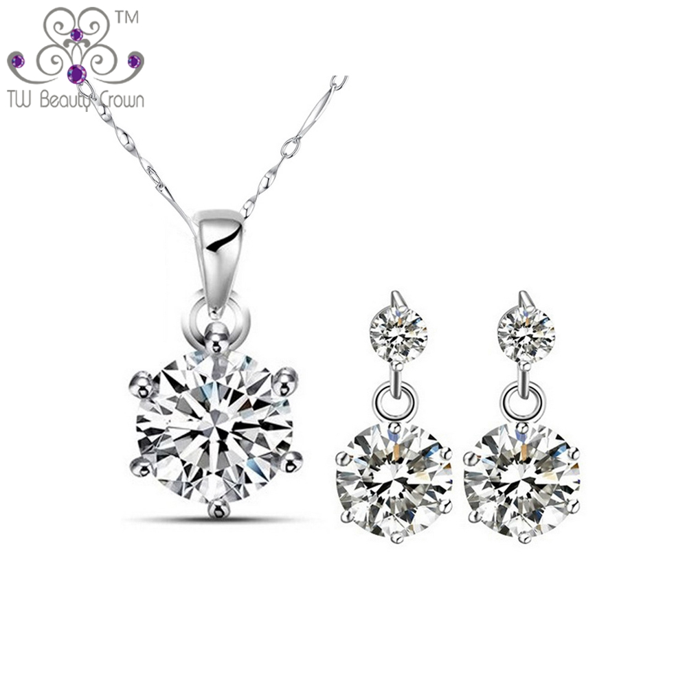 b880312948 1 Set Real 925 Pure Sterling Silver 0.75 Carat White Cubic Zirconia  Necklace Earrings Bridal Jewelry Sets For Women Female-in Jewelry Sets from  Jewelry ...