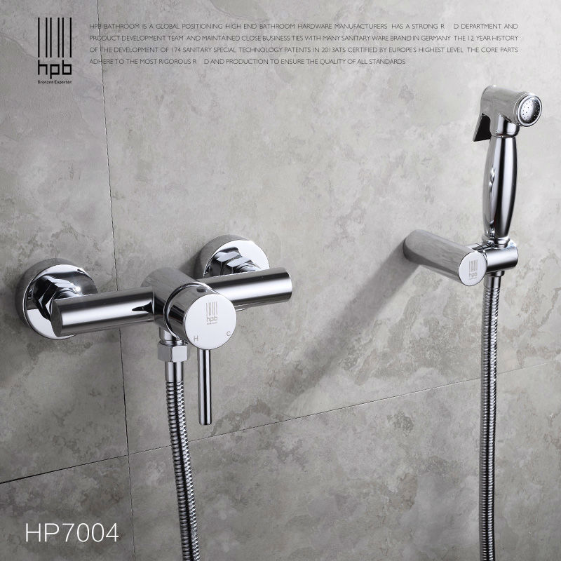 HPB Brass Hot and Cold Water Bathroom Toilet Portable Spray With Shower Holder Handheld Bidet grifo ducha Bidet Faucet HP7004, цена и фото