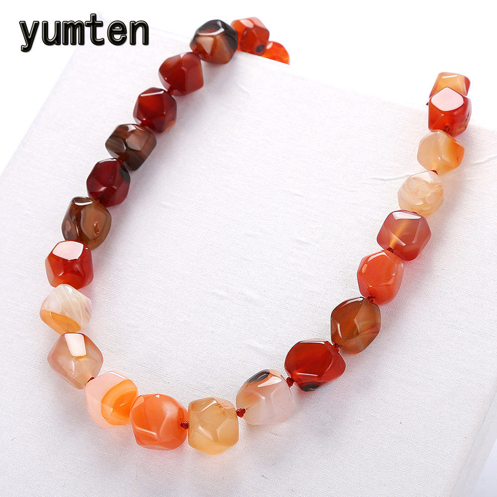 Yumten Natural Agate Irregular Original Stone Vintage Women Necklace Fashion Crystal Popular Classic Exquisite Amber Jewelry color agate topaz necklace natural stone crystal fashion women pearl chain party pendant exquisite jewelry flower name necklace