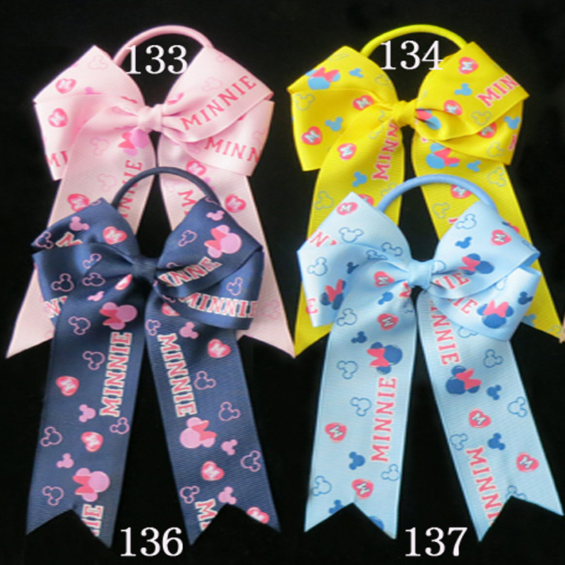 50 BLESSING Good Girl Hair Accessories Long Tail 4.5 Cheer Leader Bow Elastic