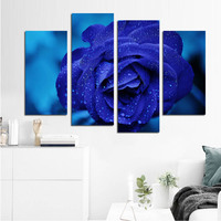 Flower Artwork Blooming Blue Rose with Dew Canvas Print Poster Wall Art Home Decor Picture for Bedroom Decorative 4pcs/set