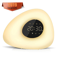 Alarm Clock Wake up Light Sunrise/Sunset Simulation with 10 Nature Sounds 7 Colors Light Touch Control RGB Dimmable Night Lamp