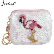 Junlead New Sparkly Sequins Female Flamingo Cheap Coin Purse Pocket Change  Wallet For Girl Key Chains 556631043f32