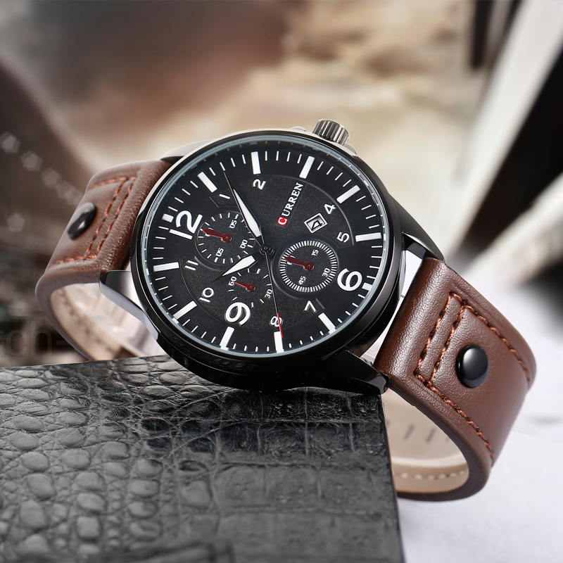 купить New Luxury Brand CURREN Watches Men Quartz Hour Date Leather Clock Man Sports Army Military Wrist Watch Relogio Masculino