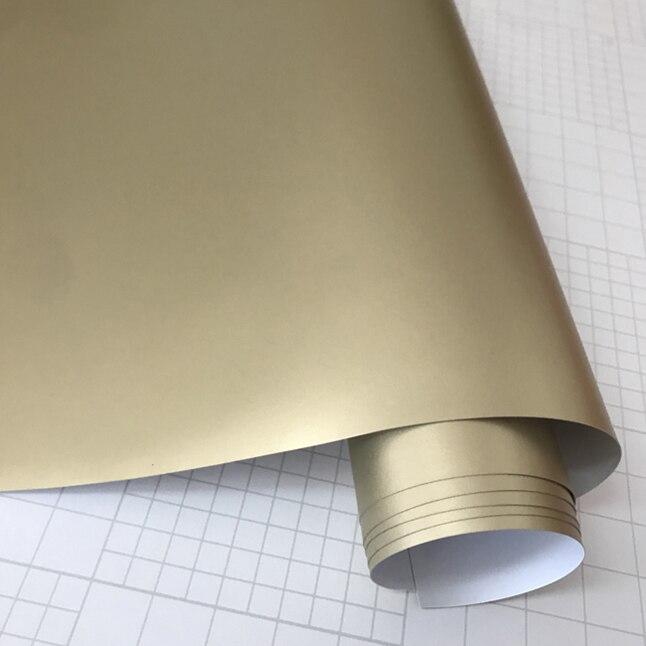 Матовый металлический хромированный виниловая пленка для автомобиля с воздушным пузырьком фиолетовая атласная металлическая наклейка из фольги для автомобиля обертывание ping покрытие - Название цвета: Champagne Gold