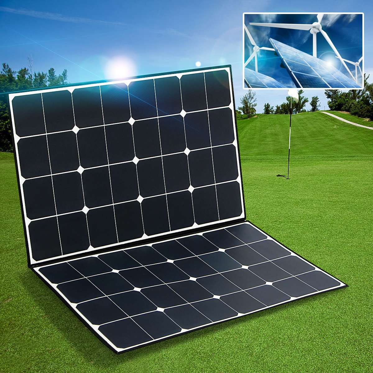 SP-22 Folding Zipper 160W 18V Semi Flexible Monocrystalline Solar Panel High Conversion Efficiency + one-to-two MC4 connector 100w folding solar panel solar battery charger for car boat caravan golf cart