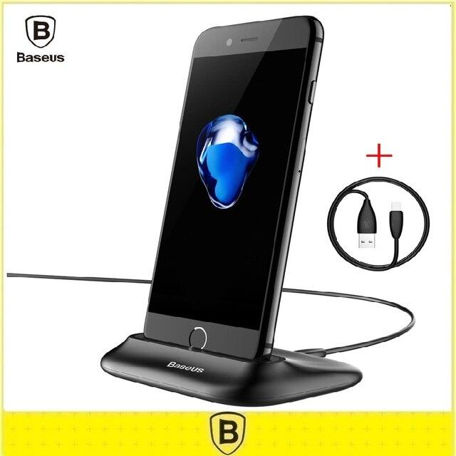 Baseus soporte de escritorio soporte de la horquilla del cargador de escritorio para iphone 5 5s 6 6 S 7 Plus Data sync Estación de Carga Dock Con Sonido puertos