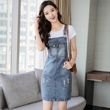 #2701 2021 Summer Straps Denim Dresses Women Sleeveless Side Button Pockets Slim Distressed Jeans Dress Ladies Korean Fashion