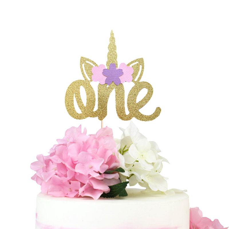 Unicorn Birthday Cake Topper One Gold Glitter 1st Party Decoration Smash