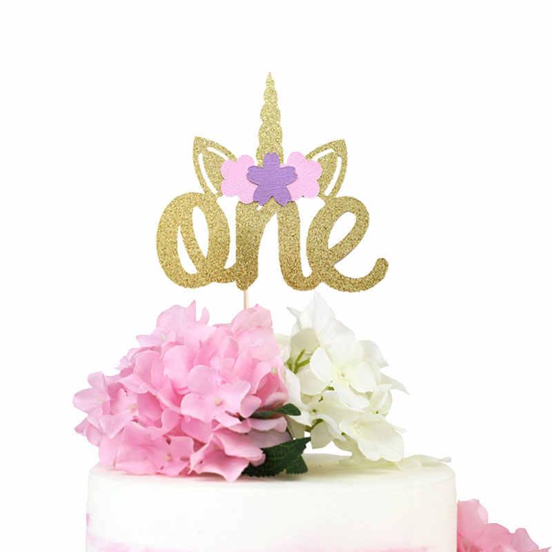 Unicorn Birthday Cake Topper One Gold Glitter 1st Party Decoration