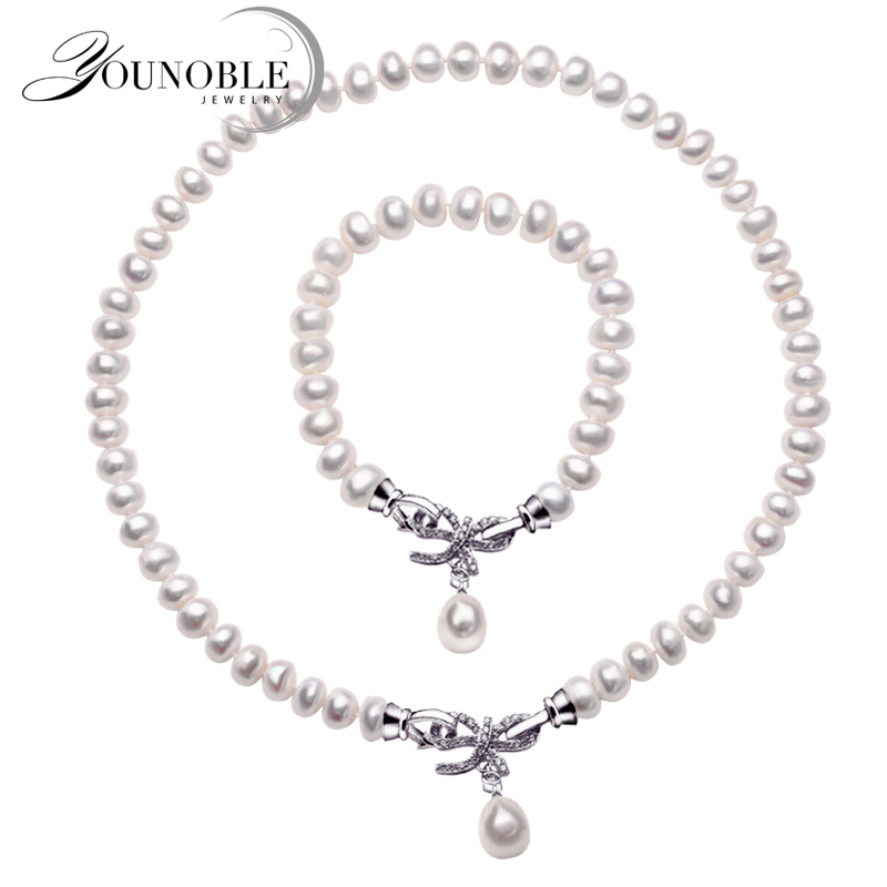 цена на Wedding Freshwater Pearl Jewelry Set Women,Real 925 Silver Jewelry Bracelet Necklace Set Anniversary Wife Birthday Gift Box